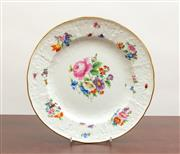 Sale 8766 - Lot 18 - A Meissen cabinet plate crest and hand painted with floral bouquets, diameter 25cm