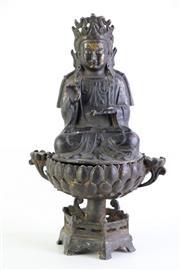Sale 8972 - Lot 43 - Cast Metal Buddha On Raised Lotus Pedestal H: 24cm