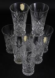 Sale 8985G - Lot 653 - Suite of Eight Vintage Czech Cut Glass Tumblers, for Westmore , original paper label, h 12cm