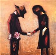 Sale 9072A - Lot 5078 - Charles Blackman (1928 - 2018) - The Meeting 28 x 28 cm (frame: 53 x 53 cm)
