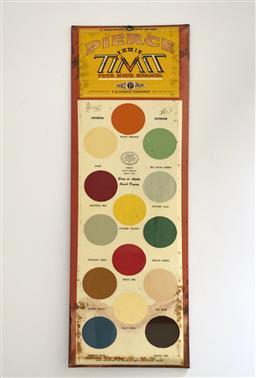 Sale 9142A - Lot 5065 - Vintage US metal shop advertising display Pierce Paint Colour, New York , 50.4 x 16.5cm