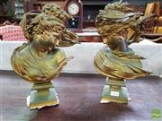 Sale 8485 - Lot 1036 - Pair of French Gilt Bronze Busts of Maidens, wind swept & facing each other, on square socles, signed ADK Saibas