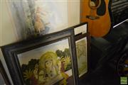 Sale 8518 - Lot 2354 - Group of (5) Assorted Artworks incl. Indo-Persian gouache on silk; Indonesian Batik, Julie Brunton watercolour & (2) Decorative Prin...