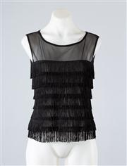 Sale 8685F - Lot 9 - A per una sheer mesh top with layers of black fringe, size 12