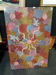 Sale 8695 - Lot 2049 - Bragas Jabanardi - Snake and Witchety Grub Dreaming, acrylic on canvas, 31.5 x 60.5cm, details verso