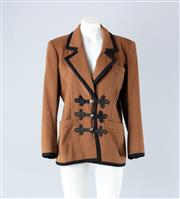 Sale 8782A - Lot 162 - A vintage Saint Laurent wool blazer jacket with black woven cord trim, size 38