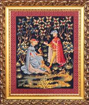 Sale 8804A - Lot 130 - A gilt framed tapestry with a medieval falconer and her companion overall 68cm x 58cm