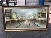 Sale 8836 - Lot 2088 - A Morgan - Parisian Scene, oil painting, frame size: 76 x 139cm, signed lower right