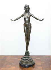 Sale 8338A - Lot 26 - A bronze figure of a bather about to dive, signed Jules Jouant, H 71cm