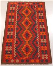 Sale 8445K - Lot 53 - Maimana Afghan Kilim Rug , 243x150cm, Handwoven in Northern Afghanistan using durable local wool. Traditional and reversible slit we...