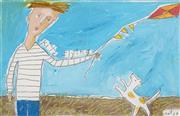 Sale 8504 - Lot 501 - Kerrie Lester (1953 - 2016) - Kite Flying 24.5 x 33.5cm