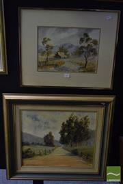 Sale 8541 - Lot 2077 - 2 Works: Rae Mackenzie Road to Copeland, Framed Acrylic on Board SLR with C.Wright Mudgee Farm, Framed Watercolour SLR