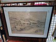 Sale 8582 - Lot 2167 - Robert Doyle (1929-2003) House by the Lake Munmorah Pencil Drawing, 29 x 41cm