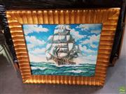 Sale 8573 - Lot 2066 - Artist Unknown Ship Running with the Wind Acrylic on Canvas