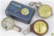 Sale 8608 - Lot 76 - Collection of 3 Michelin Vintage Pressure Gauges by Floras