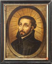 Sale 8650A - Lot 94 - Artist Unknown - Portrait of a Saint frame size 18 x 15cm