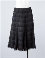 Sale 8685F - Lot 10 - A Nicholas Blanchet black softly pleated skirt with layers of fringing, size 10