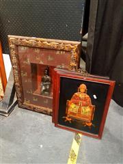 Sale 8695 - Lot 2063 - Carved Framed Elder Portraits Together With a Framed Terracotta Warrior (3)