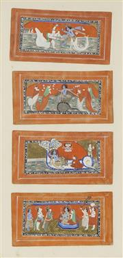 Sale 8711 - Lot 2022 - Indo-Persian School (4 works) - Court Scenes 11.5 x 22.5cm (frame: 71 x 40cm)