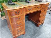Sale 8744 - Lot 1038 - Timber Desk With Nine Drawers & Leather Top