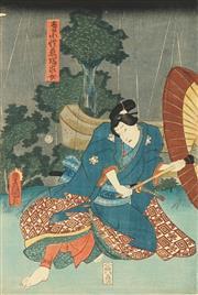 Sale 8777A - Lot 5009 - Toyokuni Utagawa III (1786 - 1865) - 36 x 25cm (frame: 53 x 42cm)
