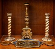 Sale 8882H - Lot 73 - Two wood and brass barley twist candle sticks together with a larger wooden gilt painted Italian example and a painted gilt tray. He...