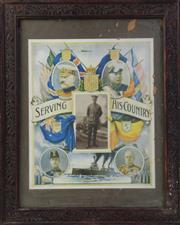 Sale 8994W - Lot 678 - Framed Serving His Country Coloured Poster (Some Losses) (53cm x 43cm)
