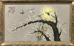 Sale 9103 - Lot 2084 - Vintage Chinese Painting of Birds in Blossom Tree, 72 x 133cm
