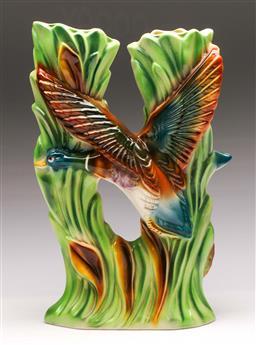 Sale 9131 - Lot 9 - A Kolman duck themed twin vase (h:31cm)