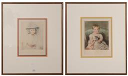 Sale 9147 - Lot 2061 - A Pair of antique style framed prints of girls.