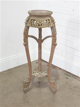 Sale 9196 - Lot 1082 - Antique Chinese carved & Painted Pedestal, with round marble inset top, with pierced floral apron & dragon form cabriole legs joined...