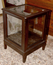 Sale 8795A - Lot 77 - A raised square form display cabinet with bevelled glass, H 66 x W 47 x D 47cm