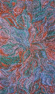 Sale 8288A - Lot 55 - Jeannie Petyarre (c1956 - ) - Bush Medicine Leaves 170 x 95cm