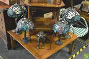 Sale 8352 - Lot 1028 - Collection of 4 Leadlight Shade Table Lamps and An Elephant lamp