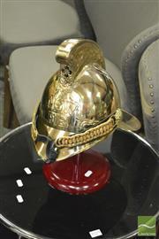 Sale 8440 - Lot 1028 - Brass Firemans Helmet + Stand