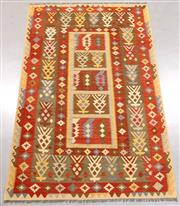 Sale 8445K - Lot 54 - Summer Afghan Tribal Kilim Rug , 305x198cm, Finely handwoven in Northern Afghanistan using high quality local wool. Vibrant summer c...