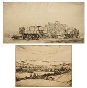 Sale 8595 - Lot 2010 - Alfred Edward (Ernest) Warner (1879 - 1968) (2 works) - Cultivation Paddocks; Incamp 20 x 27.5cm; 15 x 29.5cm