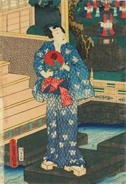 Sale 8821A - Lot 5046 - Toyokuni Utagawa III (1786 - 1865) - 35 x 25cm (frame: 53 x 42cm)