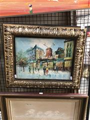 Sale 8811 - Lot 2024 - Artist Unknown, Paris Street Scene & the Moulin Rouge, acrylic, 47 x 57cm unsigned