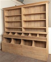 Sale 8871H - Lot 75 - A Large elm book case / utility storage unit with eight shelves and ten troughs.  242cm x  600cm x 231cm - comes apart to three piec...