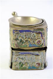 Sale 8997A - Lot 680 - Chinese Brass & Enamel Aromatherapy Burner, damaged (height 8cm)
