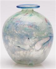 Sale 9052 - Lot 56 - Art Glass Signed Bulbous Vase Setsuko Ogishi H: 14cm