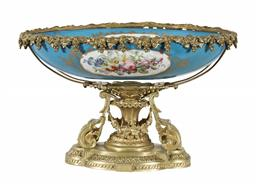 Sale 9245J - Lot 72 - A French 19th century Sevres and ormolu jardinière, with hand painted floral and gilt decoration, H 25cm x W 42cm.