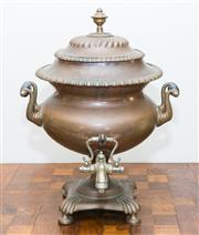Sale 8338A - Lot 27 - An antique copper samovar, with plated spigot and twin handles, H 45cm