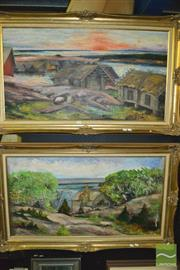 Sale 8425T - Lot 2059 - Artist Unknown (2 works) - Landscapes, 1974, each acrylic on canvas on board, each 55 x 101cm, each signed, dated and inscribed lo...