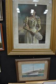 Sale 8453 - Lot 2016 - Portrait of an Early C20th Woman, chromolithograph with highlights, 119 x 97.5cm (frame size), plus another Decorative print with hi...