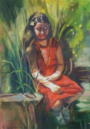Sale 8504 - Lot 507 - Rosemary Valadon (1947 - ) - Untitled, 2009 (Girl in Red) 52 x 37.5cm