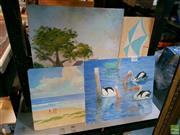 Sale 8582 - Lot 2100 - 4 Works: Russ Caro, Beach Scenes & Others, Acrylics, signed