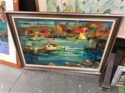 Sale 8627 - Lot 2062 - Franz Revesz-Ferryman - Harbour, oil on canvas, 60 x 90.5cm, signed lower right