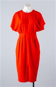 Sale 8685F - Lot 32 - An ASOS burnt orange poly-blend cocktail dress with capped sleeves and a cinched waist, size UK 6